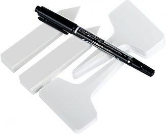 GWHOLE 100 Piezas Planta Etiquetas de Plástico + Rotulador, 2 Tipos Tags T y I, Marcadores para Planta Reutilizable Blanco de Jardí