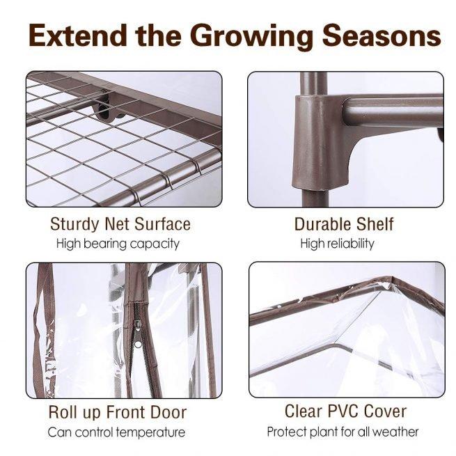 Worth Garden 5 Tier Brown Pequeño invernadero Cubierta de PVC transparente 2