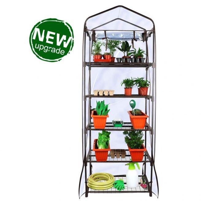 Worth Garden 5 Tier Brown Pequeño invernadero Cubierta de PVC transparente 1